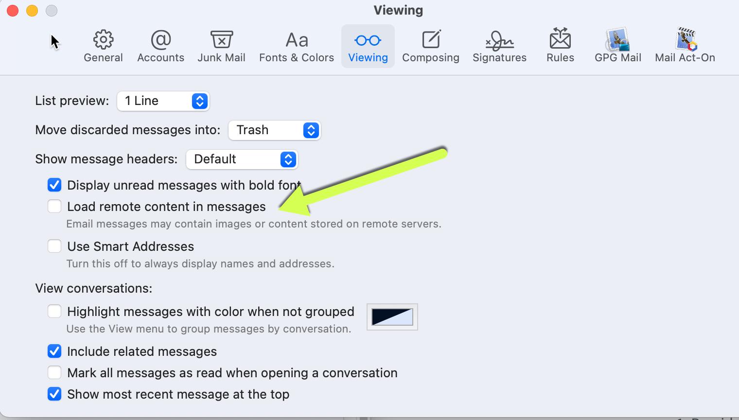 Image loading turned off in Apple macOS Big Sur (6/2021)