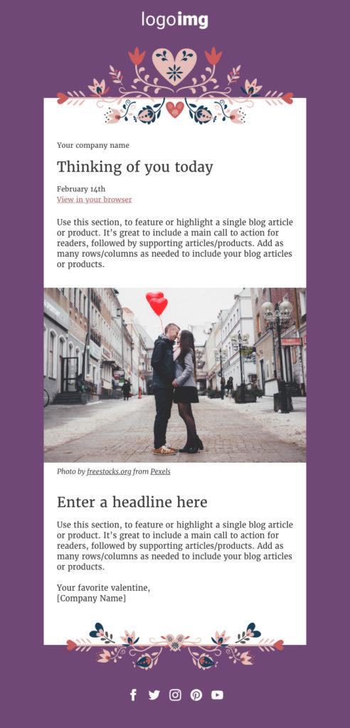 valentines design email