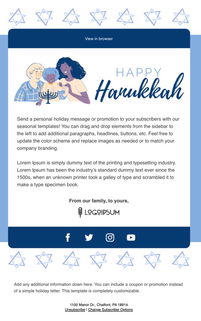 Happy Hanukkah email template