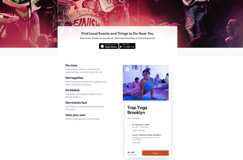 Eventbrite app landing page