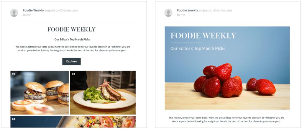 Split test of Foodie Weekly