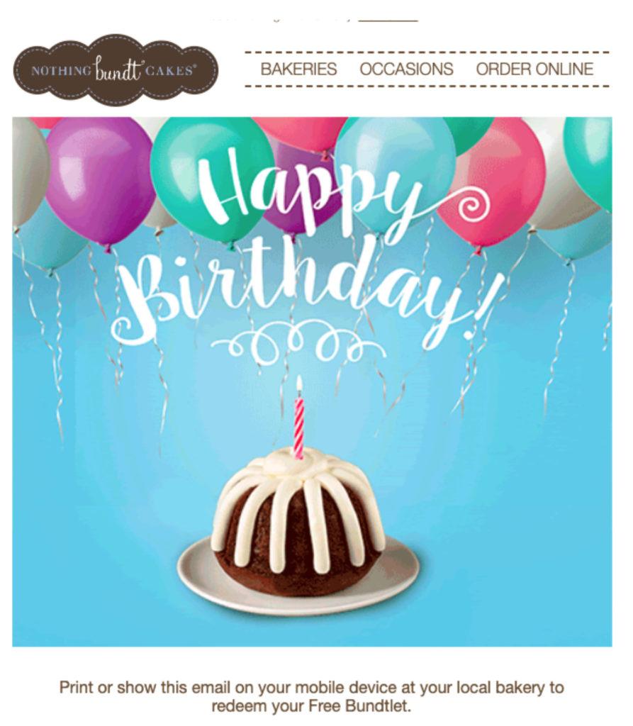 Nothing Bundt Cake's birthday email example