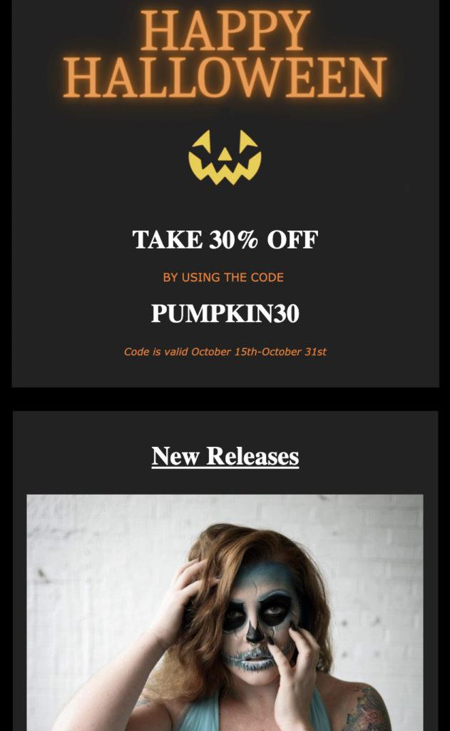 Fun Halloween landing page template in AWeber