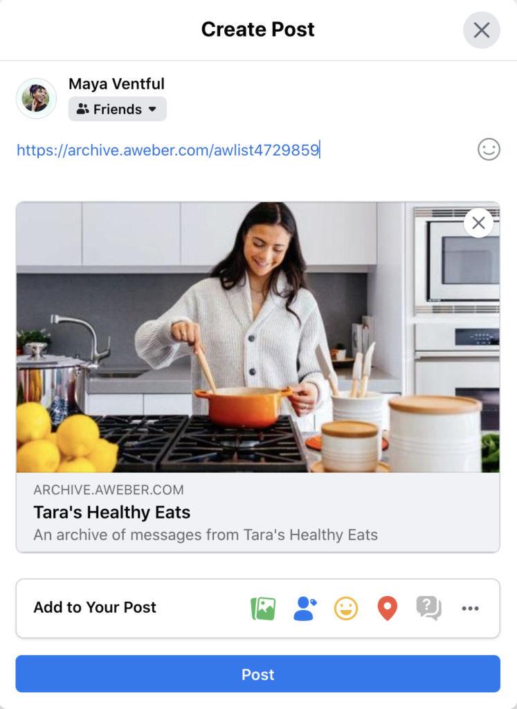 Sharing link for social media