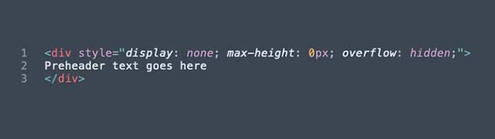 hidden preheader html text code
