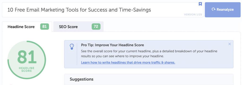 example of how Headline Analyzer scores a headline suggestion