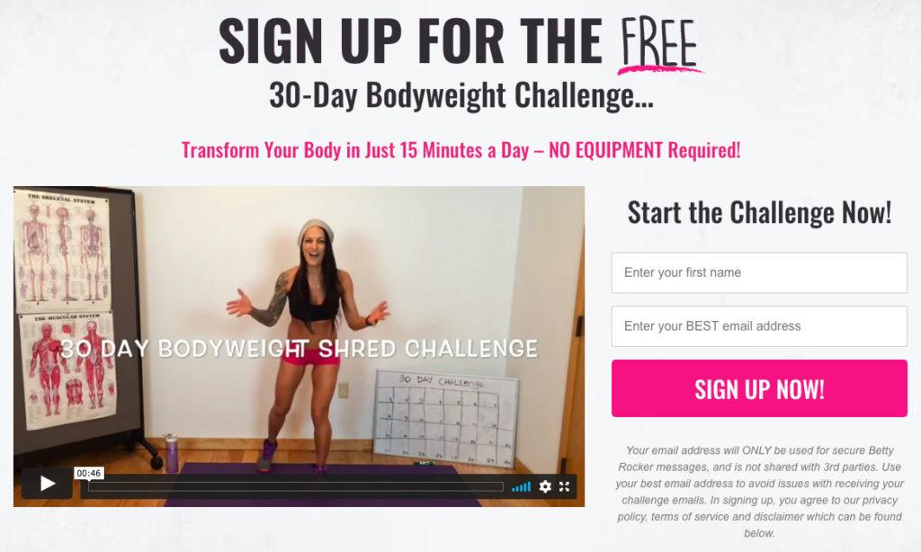 Betty Rocker free fitness challenge