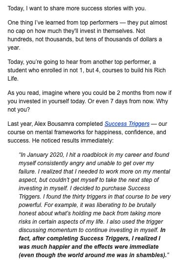 storytelling email type