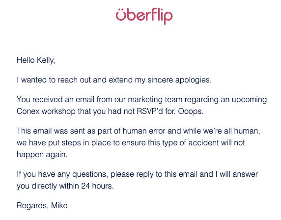 uberflip apology email