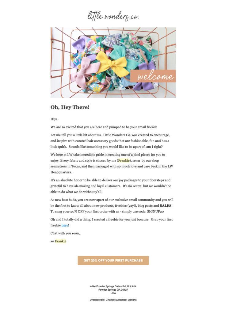 Welcome email sample built using AWeber's platform